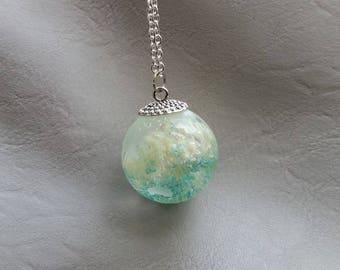 Necklace 77 cm + pendant Globe Earth 3 cm resin material vegatale inclusion