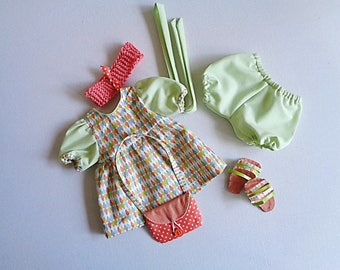 Whole dress, bloomers, sandals, purse and headband to doll 30 cm