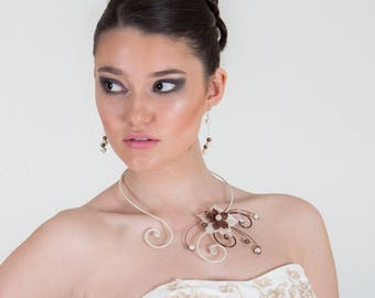 """Wedding necklace """"SEVILLE"""" with Brown & ivory silk flower"""
