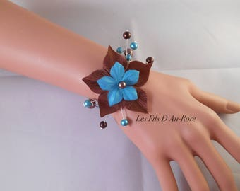 Wedding George in chocolate & turquoise bracelet