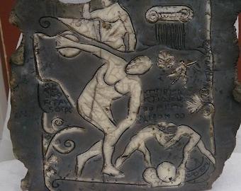 black and white raku Greek decorative wall plate