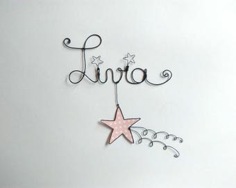 "Name wire customizable ""shooting star"" nursery wall decor"