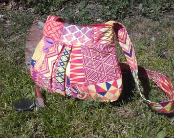 Shoulder woman, ethnic shoulder bag, colorful cotton