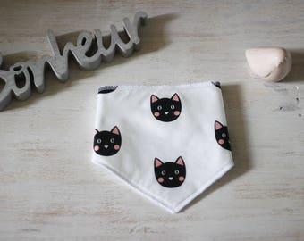 Bandana bib black cat on white background
