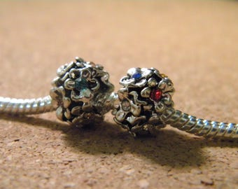 bead charms-European flower heart multicolor rhinestone - 11 x 8 mmperle European C70-1