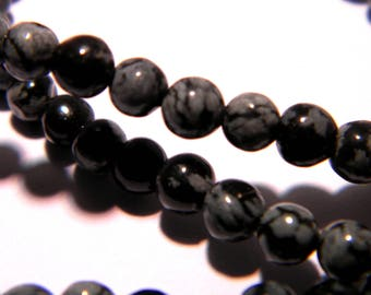 10 pearls 4 mm natural Obsidian-snowflake - PG227