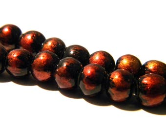 20 bead 6 mm-2 iridescent matte-black and copper red - K23-2