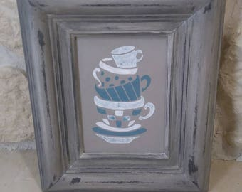 """small """"coffee cups"""" wooden frame"""