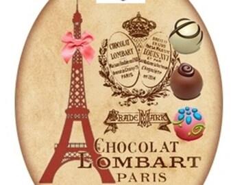 1 cabochon glass 25mm x 18mm chocolate theme
