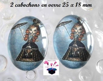 2 cabochons glass 25mm x 18mm Gothic theme