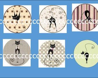 10 glass cabochons 25 mm cat theme