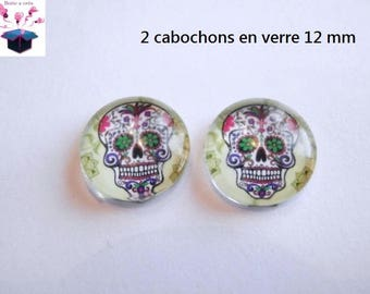 2 glass cabochon 12 mm for loop or ring skull theme