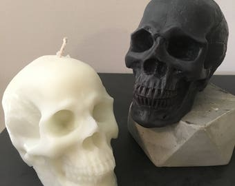 white or grey soy skull candle