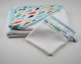 Large fish washcloth and bath cape