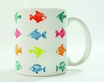 Fish Coffee Mug, Fun Mug, Abstract Art Mug , Ocean Mug, Beach House Décor, Beach Mug, boho mugs,