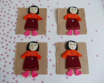 Set of 4 dolls felt appliques to sew 7 cm x 4 cm