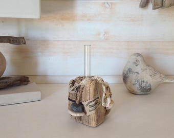 Vase glass and Driftwood for marine style