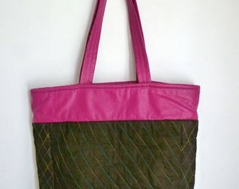 Cotton canvas and faux leather tote bag