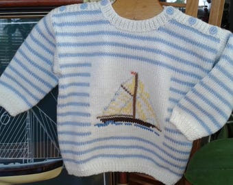 "BABY SWEATER 12 months, blue and white striped wool, ""boat"""