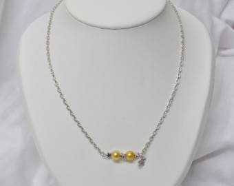 Silver plated chain, pearls, Yellow Sun necklace