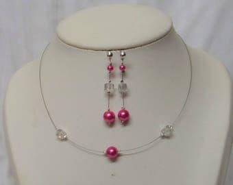 Set 2 pieces wedding necklace, and pink pearls earrings