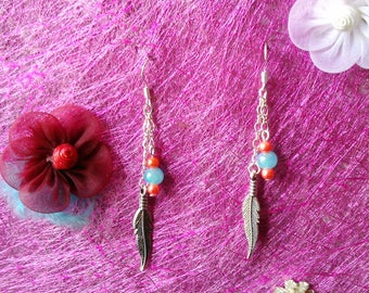 dangle earrings feathers & Pearl