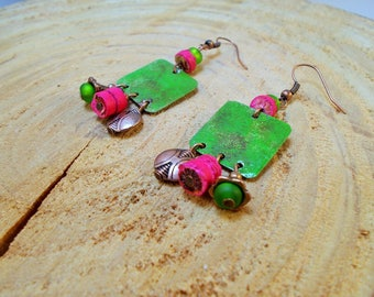 Bohemian dangle earrings in shades of green, copper and fuchsia