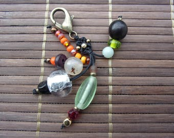 bag charm 08 Browns green buri seed and glass beads
