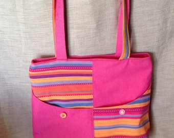 Denim tote bag pink and striped fabric.