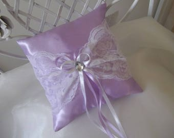 Purple wedding ring pillow color and lace pillow
