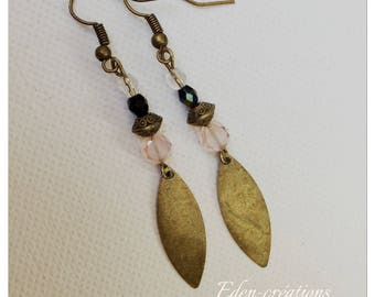 Sequins, beads, bronze and pink earrings, vintage earrings, retro