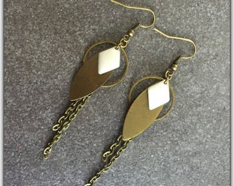 Bronze earrings, bronze and white sequin