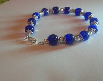 Blue cat eye bracelet and silver cups
