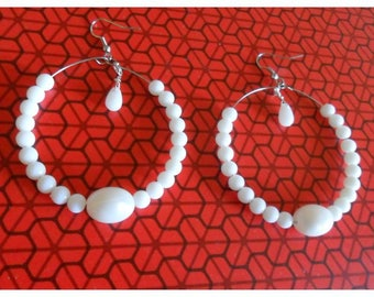 White Pearl hoop earrings in plastic and glass