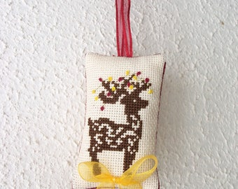 Embroidered cross stitch Christmas ornament