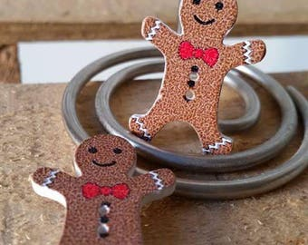 5 x Christmas gingerbread snowman wooden buttons 2 holes