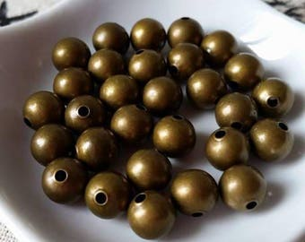 10 Bronze spacer beads, 8mm