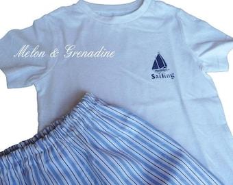Pajama boy striped Navy and blue - 4 years