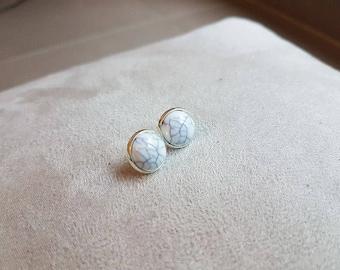 marble white stud earring