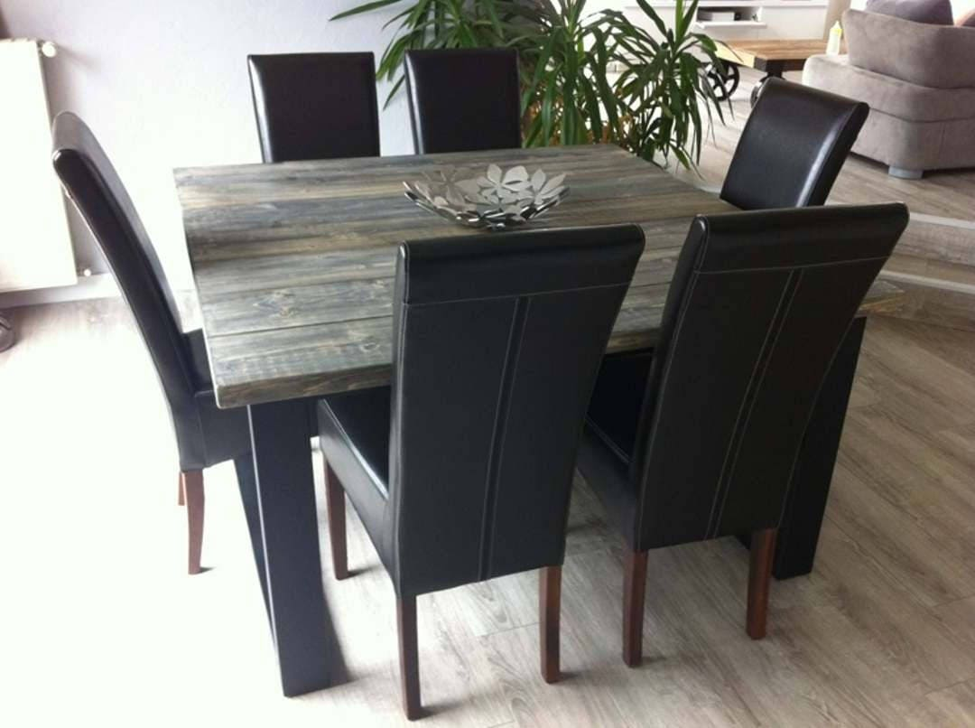Meuble industriel table de salle manger carr acier et bois - Table salle a manger acier ...