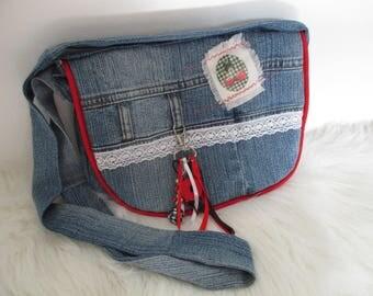 Small Messenger bag denim recycled grigri