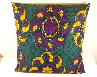 African Wax fabric Cushion cover 40 x 40.