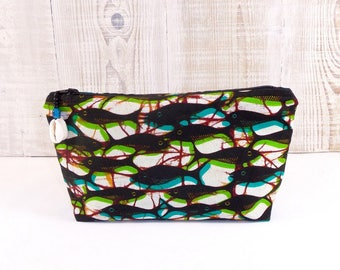 African Wax fabric clutch veined red blue, black, green tones, fish