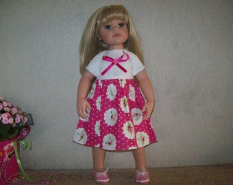 dress for dolls, gotz hannah, 50 cm (printed with pink cotton)
