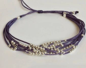 Bracelet multi-row old purple and silver metal beads