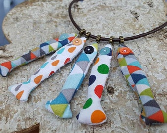 "Textile necklace catch of the day ""Harlequin"""