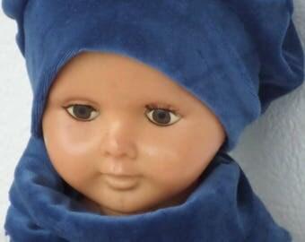 bonnet béret chapeau et snood tour du cou   bébé mixte cadeau naissance lin'eva kids velours bleu marine