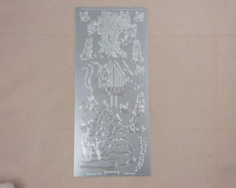 Sheet of stickers winter scenes, silver