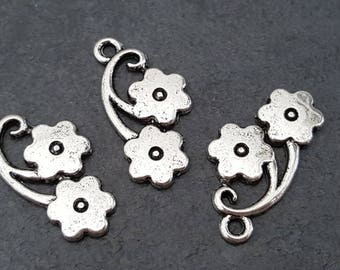(x 6) metal flower pendant, silver pendant