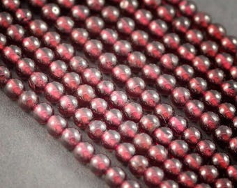 Garnet wire 40cms 125 beads 3 mm approximately • Garnet, natural stone, not dyed